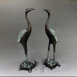 Conjuntos de quarto chinês on-line-Guindaste de bronze chinês guindaste enfeites de artesanato de decoração superior conjunto pé tartaruga