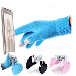 Wholesale Gloves For Mobile - Colorful Winter warm touch Cotton gloves capacitance screen conductive gloves for Intelligent mobile phone iphone ipad mini 1000pcs=500pairs