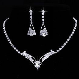 Wholesale Silver Jewellry Sets - 925 Sterling Silver Plated Jewelry Set Diamond Earrings Rhinestone Crystal Necklace Earrings for Women wedding prom party Jewellry Set