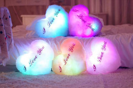 Wholesale Gift Toy For Girlfriend - Wholesale-OP-Colorful LED Night Flash Light Heart Plush Valentine's Day Gift For Girls Girlfriend Gift Kids Toys Gifts With Musical Plug