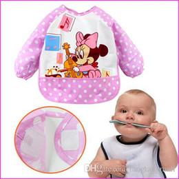 Wholesale Waterproof Apron Bibs For Babies - 2015 High Quality New Cute Cartoon Children Baby Todder Waterproof Long Sleeve for baby self feeding Brand Art Smock Bib Apron A5