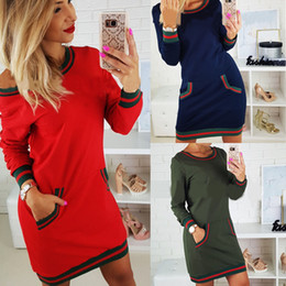 Wholesale Long Sleeve Pencil Dress Fitted - Women Autunmn Dress with Pockets Casual Long Sleeve Solid Bodycon Slim Fit Dress RF0547