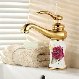 """Wholesale Porcelain Paint Sink - 8"""" White Painted Flower Porcelain Faucets Bathroom Brass Faucet Sink Basin Mixer Tap GM1005"""