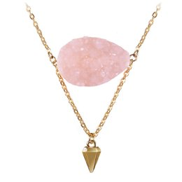 Wholesale Pink Gold Statement Necklace - New Gold Chain Geometric Triangle Pendants Charm Women Necklace Fashion Pink Stone Statement Necklace Jewelry Collier Femme