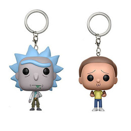 Wholesale Bobble Heads Funko - Funko pop Keychain Avengers Rick and Morty Action Figure Bobble Head Q Edition new box for Car Decoration toy017