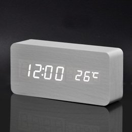 Wholesale Wooden Digital Clock - Wholesale-Large Size Wooden Alarm Clocks with Thermometer Rectangle Table Clocks Big Numbers Digital Clock Classic LED Wooden Clocks