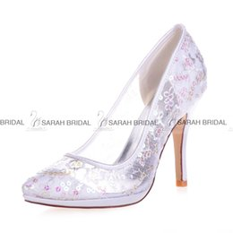 Wholesale Cheap Sequin Shoes Women - Gold Lace White Pink Blue Ivory Wedding Dress Shoes 10 CM Pointed Toe Women Paillette Grenadine Evening Prom Bridal Accessories 2015 Cheap