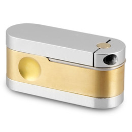 Wholesale Cheap Hand Pipes Free Shipping - Formax420 Metro Twister Pipe Brass and Chrome Pocket Hand Pipe Gold Smoking Accessories Mini and Cheap Pipe Free Shipping