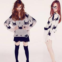 Blusas wildfox on-line-Wildfox Camisola Das Mulheres Gato Rosto Impressão Buracos Sweaters Senhoras Moda Personalidade Casuais Fino de Todos Os Coincidir Com Tricô Casaco Y21