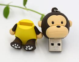 Wholesale Cute Memory Sticks - 10pcs 32GB 64GB 128GB Cartoon Monkey cute USB 2.0 Flash Memory Pen Drive Sticks Thumb Drives Disks Pendrives Thumbdrives usb drives