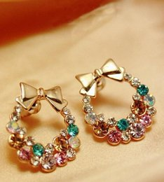 Wholesale Diamond Bow Studs - Free Shipping New Fashion Imitation Diamond Colorful Rhinestone Bow Earrings Vintage Jewelry (2piece=1pair)