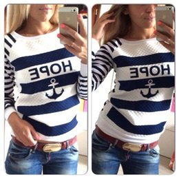 Wholesale Anchor Rudder - retail Fashion Casual Womens Striped Round Neck Pullover Anchor rudder T-Shirt Long Sleeve Top Blouse