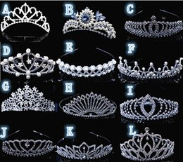 Wholesale Wedding Floral Tiara - Elegant Rhinestone Floral Flowers Headbands Hair Jewelry Sliver Bridal Hairdress Weeding Head Accessories 12PCS