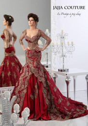Wholesale Long Couture Evening Gowns - Red Lace Formal Mermaid Prom Dresses 2016 Arabic Jajja-Couture Embroidery V Neck Vestidos Evening Gowns With See Through 3 4 Long Sleeve