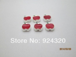 Wholesale Cheap Locket Charms - Red Apple Floating Charm for Memory Charm Lockets Charms Cheap Charms Cheap Charms