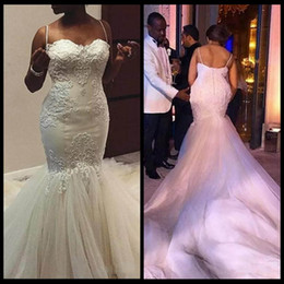 Wholesale Maria Dress - African Nigerian Ivory Mermaid Lace Wedding Dresses 2018 Straps Sweetheart Appliques with Tulle Chapel Train Bridal Gowns robe de maria