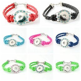Wholesale Wholesale Drilled Quartz Leather - Wholesale mix colors Hot Handmade Leather Bracelets Drill Fit For Noosa Snaps Chunk Charm Button Women Jewelry New Arrival