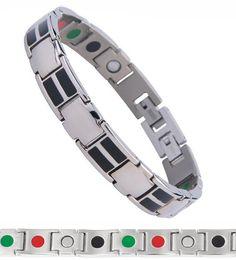 Wholesale Enamel Magnetic - 20CM 1CM black enamel energy germanium negative ion men bio magnetic stainless steel bracelet