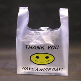 westen träger Rabatt Großhandels 100pcs 4 Größen-Qualitäts-HDPE Supermarkt-Gelb-reizendes Lächeln-weiße Weste-Plastikfördermaschinen-Einkaufen-Handtasche-Verpackentaschen Heiß