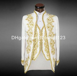 Wholesale Groom Tuxedos Gold - New Arrival Groom Tuxedos White With Gold Embroidery Men's Suit Groomsmen Mens Wedding Suits Prom Suits (Jacket+Pants+Vest) G1070