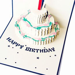 Wholesale Envelopes For Greeting Cards - Wholesale- New Arrive Color 3D Cake Birthday Cards Greeting Card And Envelope For Best Wishes Of Birthday Greeting Card DIY handmade