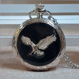 Wholesale Eagle Plastic - Men Women Black Smooth Cover Eagle Silver Quartz Pocket Watch Pendant Necklace Chain Gift Regarder P089