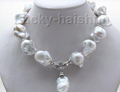 "3 Brins 22/"" 5 mm BAROQUE BLUE PEARL 26 mm BLANC REBORN Perle Collier"