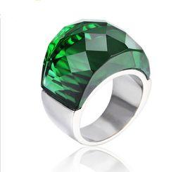 Grandes anillos de cristal online-Moda Grandes Anillos de Piedra de Cristal Para Las Mujeres de Acero Inoxidable Circón Anillo de Boda Joyería Del Partido Dropshipping Blanco Negro Rojo Verde