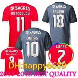Wholesale Home Wearing - Thai quality 17 18 Benfica home away red gray Jerseys 2017 2018 LOPEZ SALVIO RAUL JIMENEZ JONAS Sports Wear Shirts