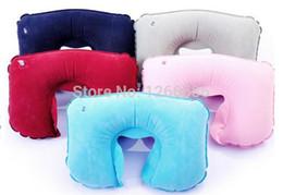 Wholesale Neck Rest Travel Pillow - 1000pcs lot Travel Flight Car Pillow Inflatable pillow Neck U Rest Air Cushion