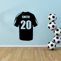 Wholesale Planes Shirts - Personalised name Soccer Shirt Boys Bedroom Wall Art Vinyl Decal Sticker
