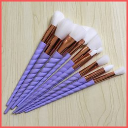 Wholesale Wholesale Purple Tools - Factory Direct DHL Free Makeup Brushes 10 PCS Unicorn Screw Purple Handle Makeup Brushes Sets The fan brush Makeup Tools In stock