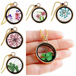 Wholesale Dog Floating - Mix style Clovers gold plated multicolor dried flower round pendant Clover floating locket charms necklace pendant for woman gift FL11