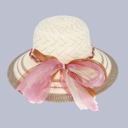 Wholesale Ladies Hats Bags Wholesale - Wholesale-3 Pcs bag Women Summer Beach Straw Sun Hats Holiday Colorful Ribbon Floppy Fedora Hat Visor Caps for Ladies EUL