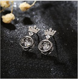 Wholesale Cz Ear Rings - 2017 New Anti-Allergic Crown Wedding Stud Earring 925 Sterling Silver CZ Simulated Diamonds Engagement Dangle Jewelry Crystal Ear Rings