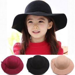 Wholesale Fedora Girl - 2016 New Girl Wool Felt bow Hats Childrens Wide Brim Caps Kids Summer Beach Hats