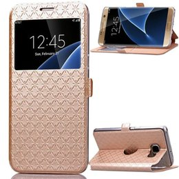 Wholesale Lg Wallet - For Samsung Galaxy S9 Plus Note8 J5 J7 2017 S7 EDGE J310 G530 LG G6 Sony XA Wallet Leather Case Open Window Diamond Caller Card Skin Cover