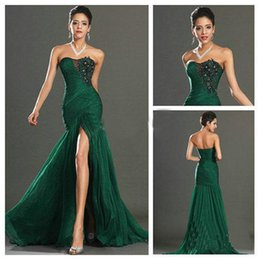 Wholesale Sexy Sophisticated Prom Dresses - Sophisticated Dark Green Prom Dresses Chiffon Sweetheart Applique and Beaded Mermaid Evening Dresses Formal Gowns High Side Split Cheap