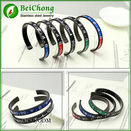 Wholesale Men Bracele - (2 pieces lot) BC Jewelry Classic men titanium gear Black speedometer bracele bangle 316l stainless steel bangle bracelet BC-128