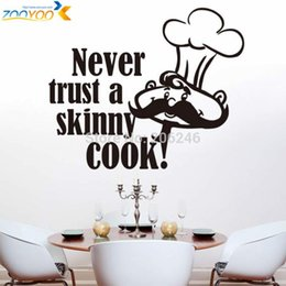 Wholesale Sticker Cooking - never trust a skinny cook art quote wall decal zooyoo8210 home decoration kitchen room removable diy vinyl wall stickers