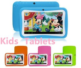 Wholesale Children Best Gift Wholesale - 7 inch Quad Core Children Kids Tablet PC 512MB 4GB Android 5.1 Children Educational Apps Christmas best gift DHL FREE