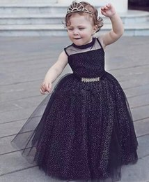 Wholesale Party Shirt Girl Baby - Newest Style Black Baby Little Child Toddlder Clothing For Birthday Party Formal Wear 2017 Cute Girls Pageant Gown