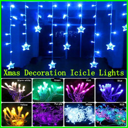 Wholesale Xmas Icicles Lights - Xmas Lights LED Curtain icicle lights 120 LED 3.7M * 0.6M Star Light LED String Christmas Decoration Wedding Party Holiday Heart Light
