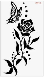 Wholesale Eye Makeup For Men - Wholesale- (Min order $0.5) Temporary Tattoo For man Woman Waterproof Stickers makeup maquiagem make up Butterfly Rose tattoo WM218