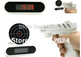 Wholesale Cool Novelty Guns - newest Target Desk Shooting Gun Alarm Clock Cool Gadget Toy Novelty with Red LED Backlight, Free Shipping