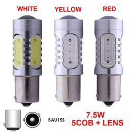 Wholesale 1156 Amber Led - 1156PY PY21W BAU15S LED Bulbs With Projector 7.5W 7507 Amber Yellow White Red Auto Turn Brake Backup Light Lamps 12V
