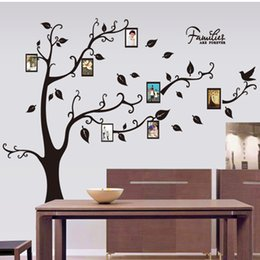 Wholesale Wholesale 3d Photo Frames - Large Size Black Family Photo Frames Tree Wall Stickers, DIY Home Decoration Wall Decals Modern Art Murals for Living Room Free shipping