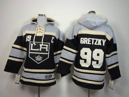 Wholesale Boys Names Top - LA Kings #99 Wayne Gretzky Kids Black Jerseys Hoodies Lace Up Pullover Hoodies Name Number Stitched Top Quality Youth Outdoor Sports Clothes