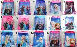 Wholesale Woven Drawstring Backpack Wholesale - 15pc lot new style children's Non-woven froze n Elsa Anna princess Drawstring Backpacks Printed School bag Party Favor 15 design KK01