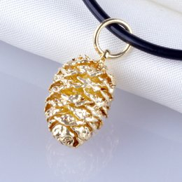 Wholesale Necklace Golden - 24K gold plated beauty in the pineal gland of the golden leaves sweater chain necklace Jin Shipin